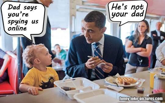 Funny Obama Child Dad Spying Online Joke Picture