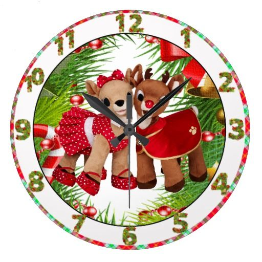 Pretty Clocks | cute reindeer sweet heart christmas clock