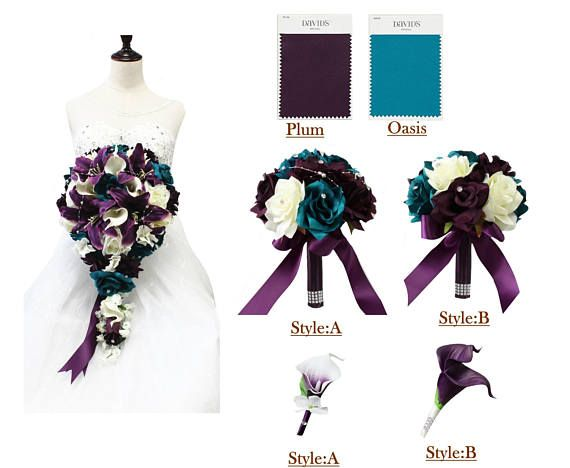 Build your wedding package. Flower color theme can be changed upon request. {Product description} Color theme:Plum, Oasis,Ivory Bouquet options: Cascade Bouquet: measures at 10 w x 5 H x 21L , beautiful tradition long cascading Style: A - 9 Round Rose bouquet with pearls - 8 Round