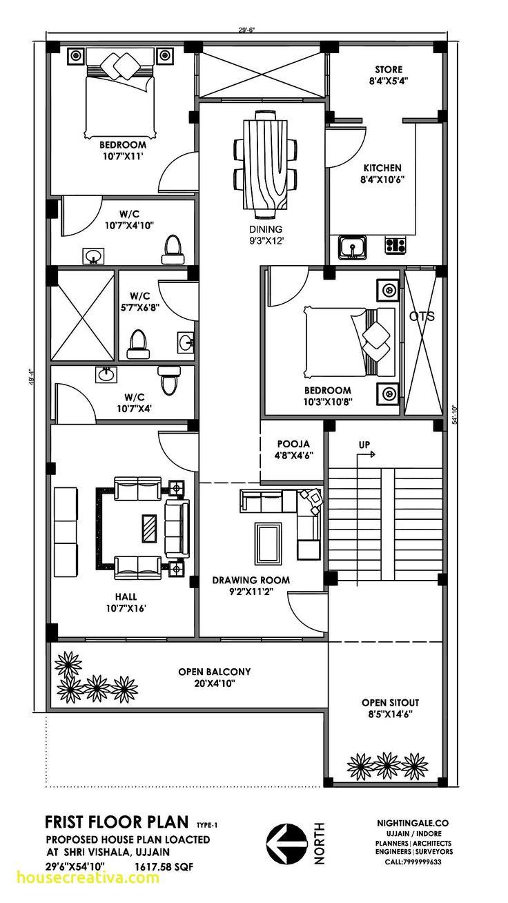 30x50 3BHK House Plan 1500sqft | Little house plans, 30x40 ...