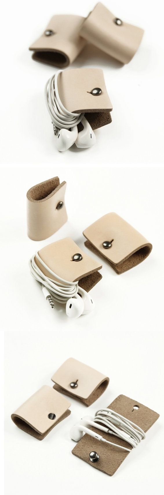 Leather Earphone Headphone Organizer with Snap /MillionBag コバ処理チェック!