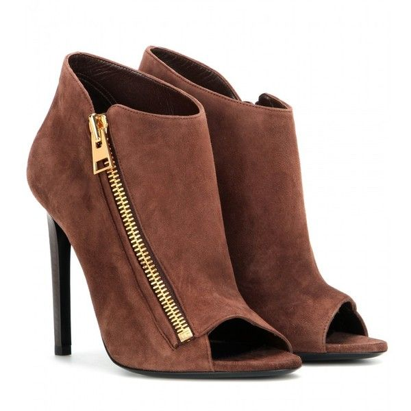 Tom Ford Open-Toe Suede Ankle Boots ($1,215) ❤ liked on Polyvore featuring shoes, boots, ankle booties, heels, brown, short brown boots, open toe bootie, heeled booties, brown open toe booties and ankle boots