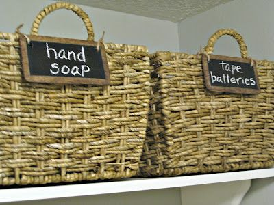 chalkboard basket labels tutorial