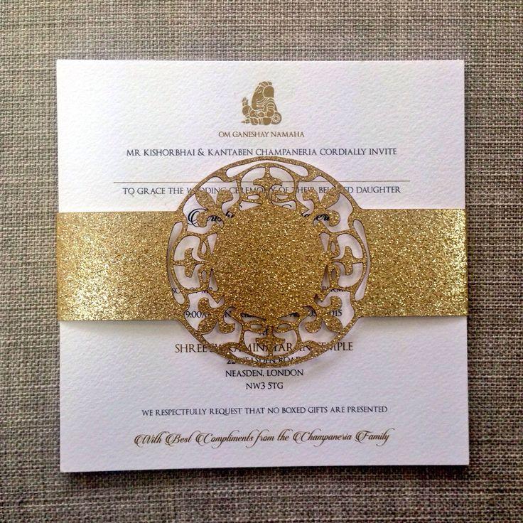 @Revadesigns Gold Glitter Laser Cut Belly Band Indian Wedding Invitation.
