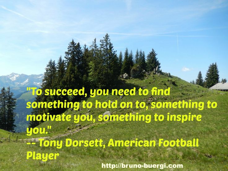 """""""To succeed, you need to find something to hold on to, something to motivate you, something to inspire you."""" -- Tony Dorsett, American Football Player"""