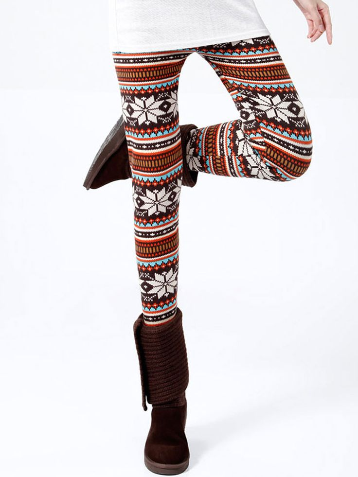 Multicolor Snowflake Leggings With Faux Fur Lined - Fashion Clothing, Latest Street Fashion At Abaday.com