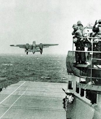 Doolittle Raiders B-25's on USS Hornet (CV-8) April 18, 1942. #10I