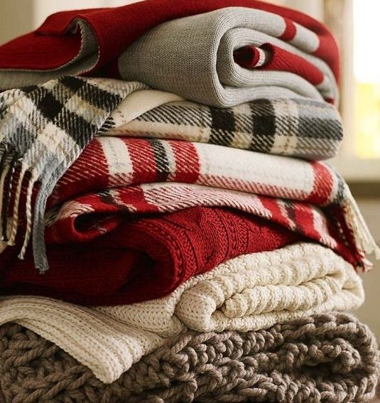 Fall / Winter plaid blankets - snuggle up under a warm and cozy throw by the fire. Pottery Barn