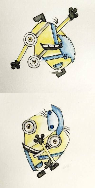 Minions in cubism art - kid art