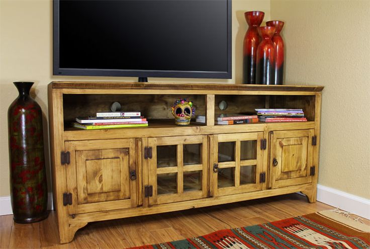 The Gregorio Tv Stand Features Ious Bottom Cabinets Two Gl And Solid Pine To Keep Your Living Room Organized Top Cubby Holes Are Ideal For