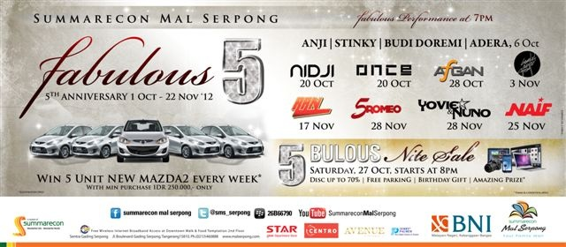 FABULOUS 5, 5th Anniversary of SMS, Win 5 Unit New Madza 2 Every Week