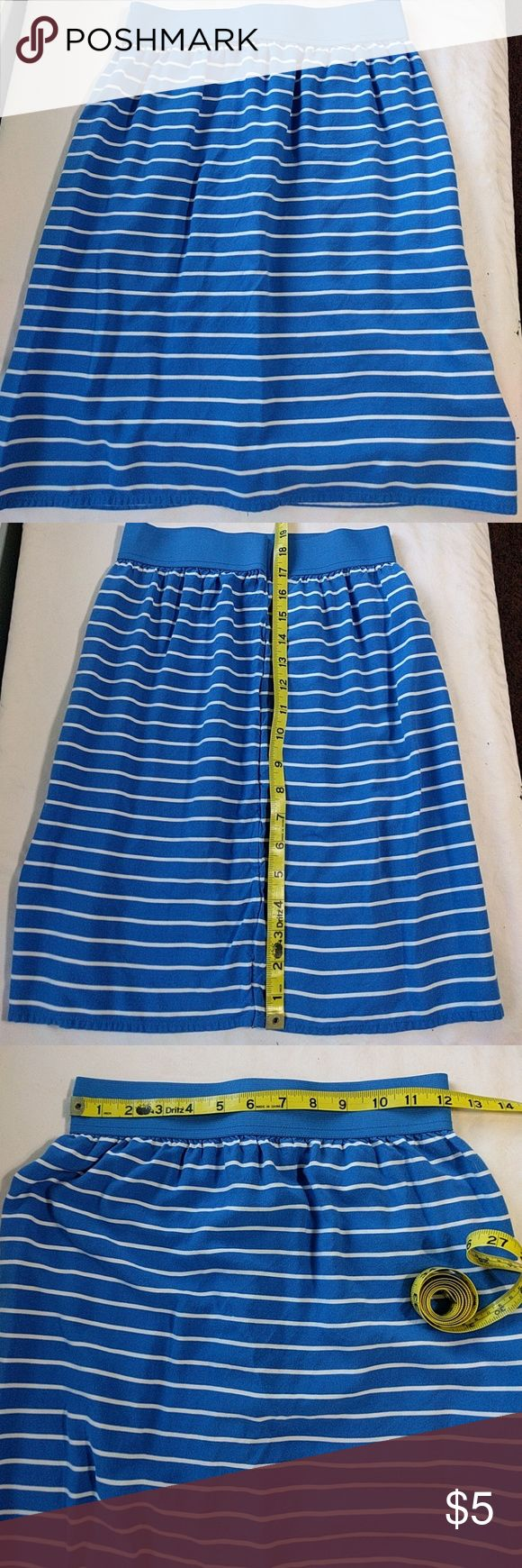 Handmade Skirt Blue cotton skirt with white stripes. Handmade by a friend, but slightly too tight on me. The waist is elastic, but the rest of the skirt isn't stretchy. Super cute, though. handmade Skirts Mini