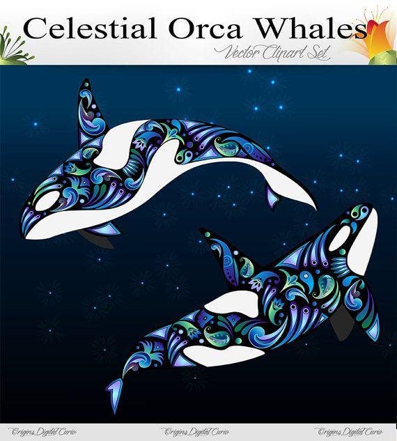 Celestial Orcas Whale Vector Clipart Set by OriginsDigitalCurio, $4.00