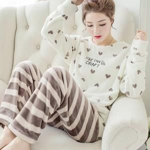 Autumn Winter Women Pajamas Sets Coral Fleece Sleepwear Warm Bathrobe  Nightgowns Kimono Pyjamas Home Clothes Coral Fleece 55f4daff3