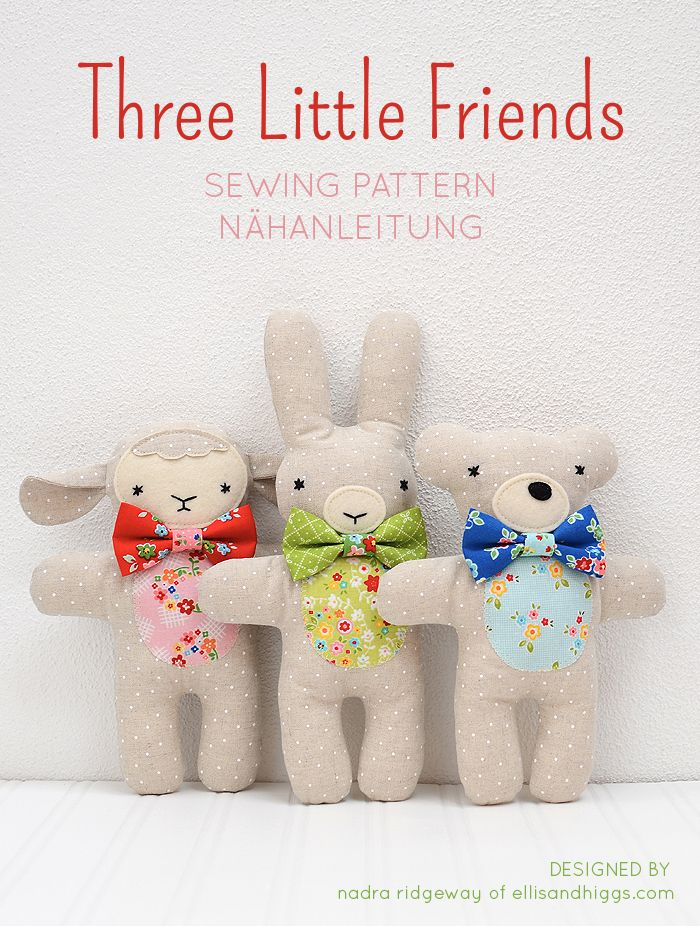 Three cute little stuffed animals: bunny, bear and lambkin, a new softie pattern by Nadra Ridgeway of ellis & higgs