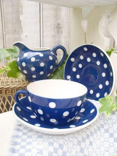 petit déjeuner bleu à pois blanc Digoin 1950