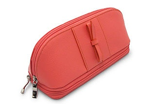 Leather Cosmetic Case, Coral  MORELLE & CO