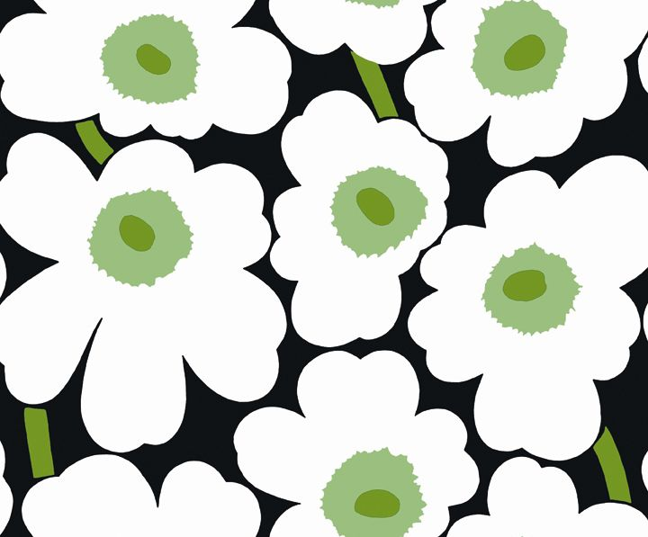 marimekko unikko black white green wallpaper marimekko wallpaper for the home pinterest. Black Bedroom Furniture Sets. Home Design Ideas