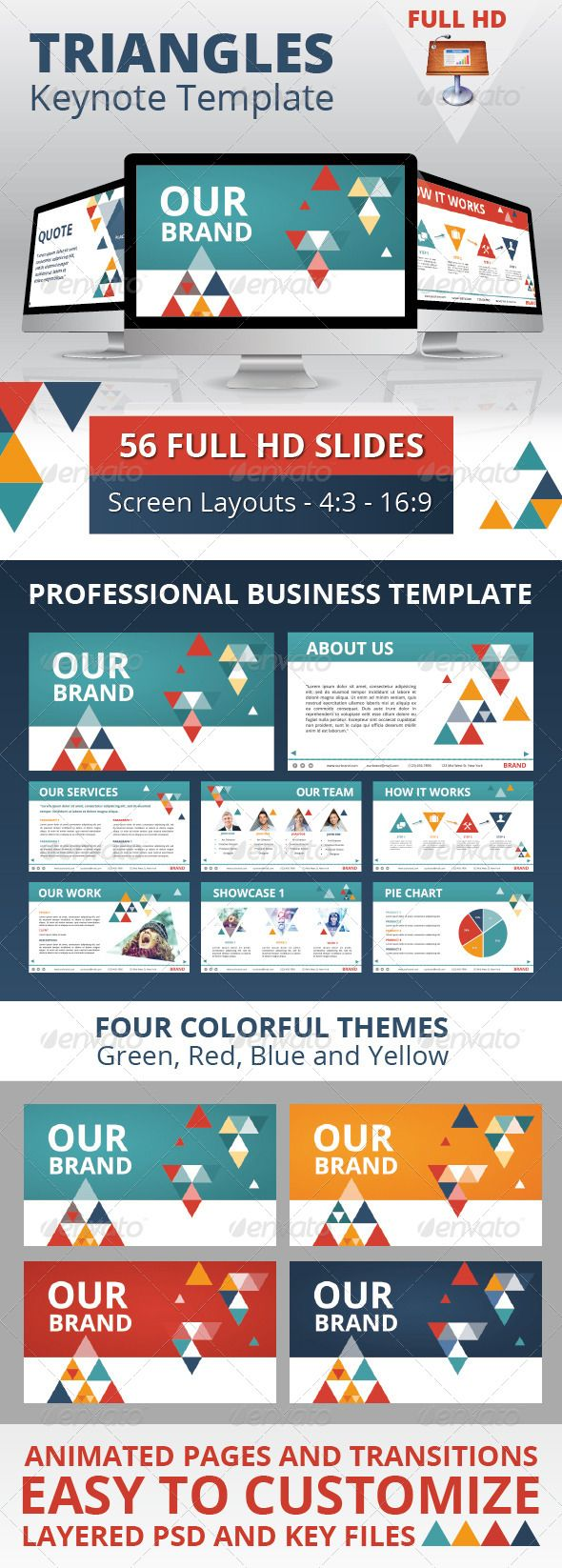 Triangles Business Keynote Template | Keynote theme / template