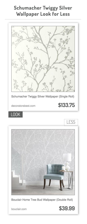 Schumacher Twiggy Silver Wallpaper (Single Roll) vs Bouclair Home Tree Bud Wallpaper (Double Roll)