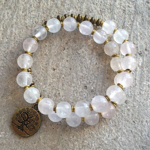 Beautiful rose quartz 27 bead wrap mala  bracelet. Rose quartz is known for its emotional healing properties. pink Pinkquartz Healing Yoga mala Meditation~<3
