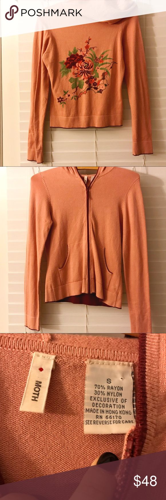 Anthropologie MOTH floral zip up hoodie Anthropologie MOTH floral zip up hoodie. Super soft and comfortable. Does have a small snag on the arm but isn't very noticeable. Anthropologie Jackets & Coats