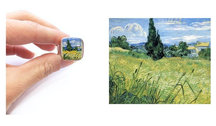 Hand embroidered VanGogh Wheat field Ring