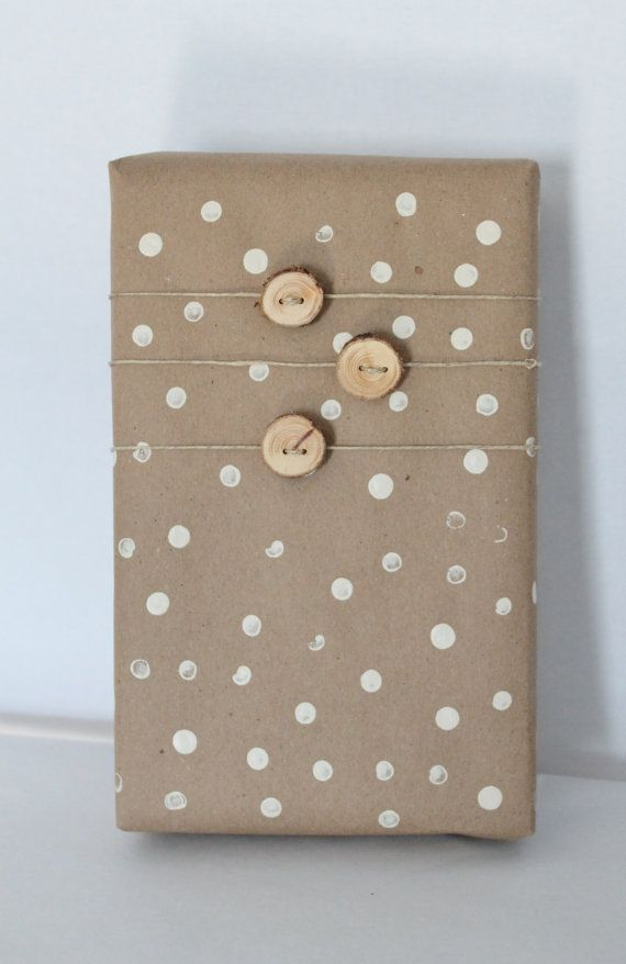 rustic package with small wood buttons
