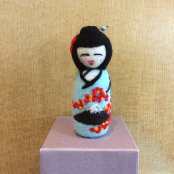 Needle felted Japanese Kokeshi Doll with a blue kimono featuring Mt.Fuji and the autumn leaves by SweetPeaDolls