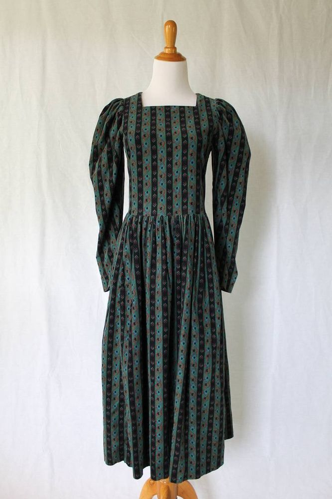 Vintage LAURA ASHLEY Georgian Regency Style Green Stripe Corduroy Dress US 6 #LauraAshley