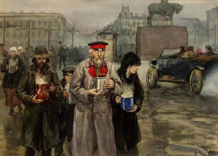 Revolution In Pictures - Starving people in Petrograd, 1918 - Ivan Vladimirov (1869-1947) was a painter of battle scenes of Russian-Japanese war, the revolution of 1905 and WWI. He worked in police and painted not from someone's words but from what he saw with his own eyes. Unfortunately I. Vladimirov finally turned into quite an ordinary battle-painter, who began to create in the style of mimetic socialist realism (to serve the interests of the Soviet leaders).