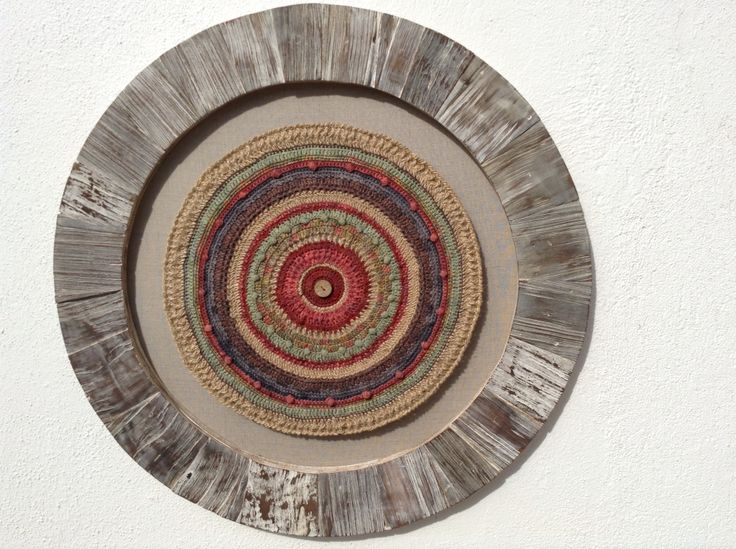 Fiber Art. Framed Crochet Mandala in Shingles Larch