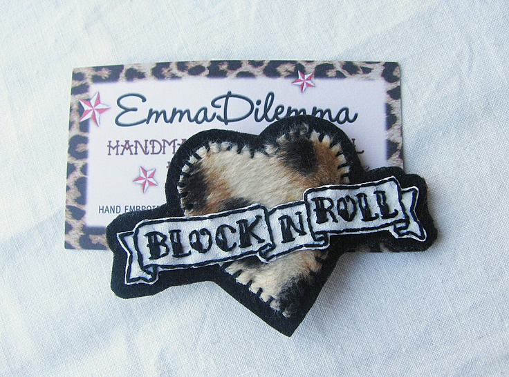 Roller Derby Blocker Leopard fur Heart Tattoo Style Accessory - Handmade Embroidered Hairclip/Brooch. $18.00, via Etsy.