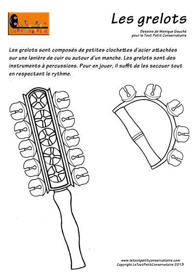 Les grelots instrument de musique percussion dessins coloriages d 39 instruments de musique - Image instrument de musique a colorier ...