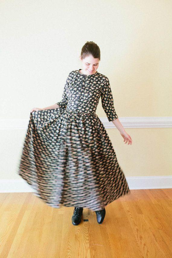 Tuin jurk  knop aan voorzijde bescheiden kleding  Prairie