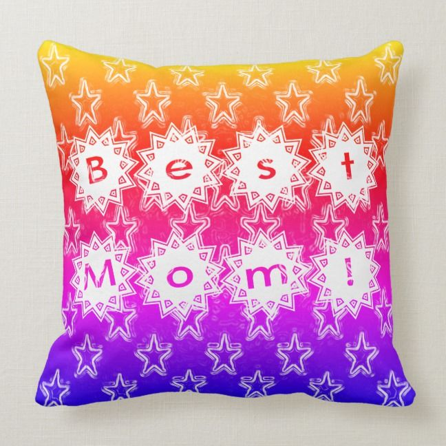 Best Mom Stars White Neon And Colorful Background Throw Pillow