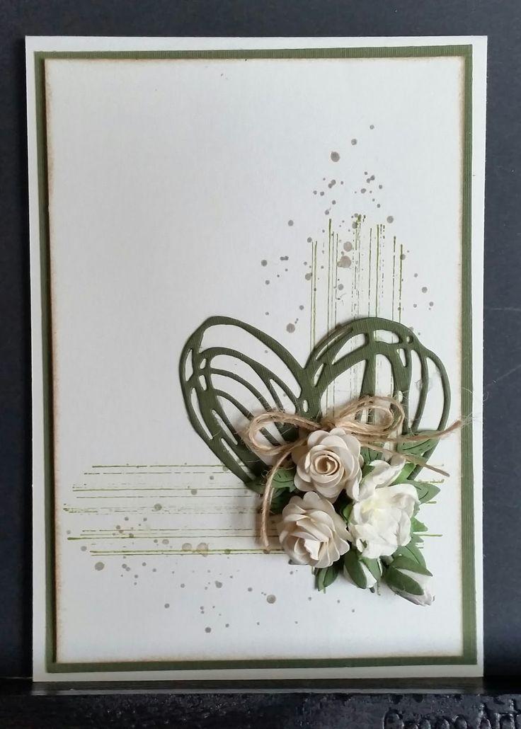 Kort.   Baggrunden er lavet med stampin up stempler.           Hjertet er fra Tim Holtz sizzix.   Scribbles & splat 660222.        St...