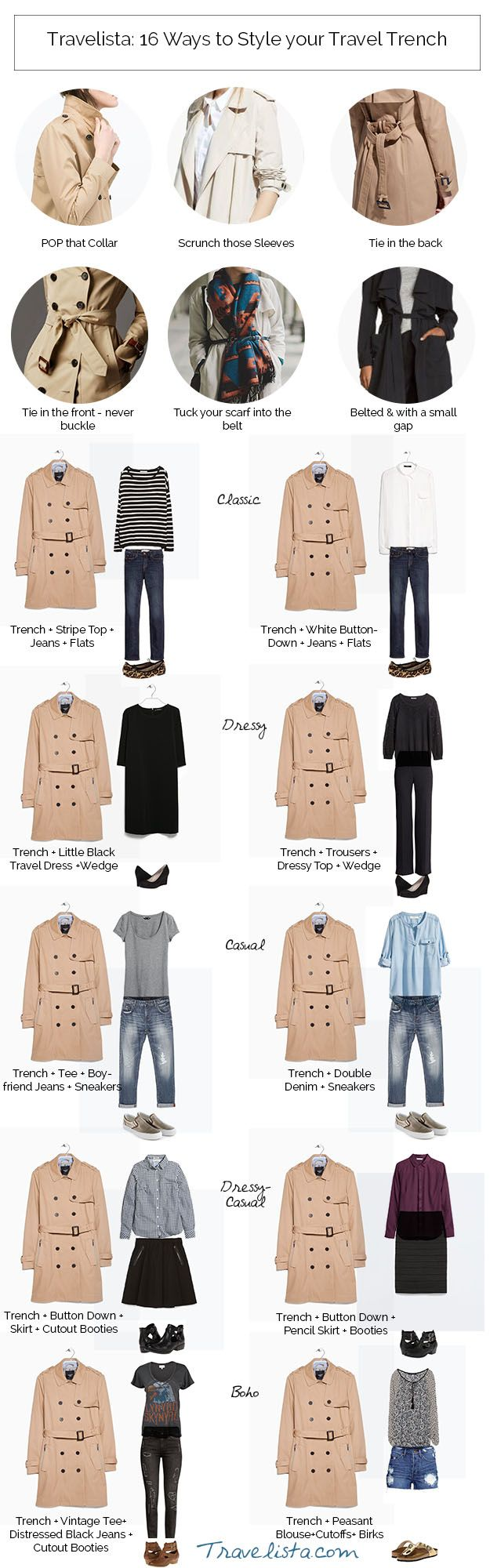 16 ways to style your travel trench coat | Travelista #Style #Wardrobe #Capsule