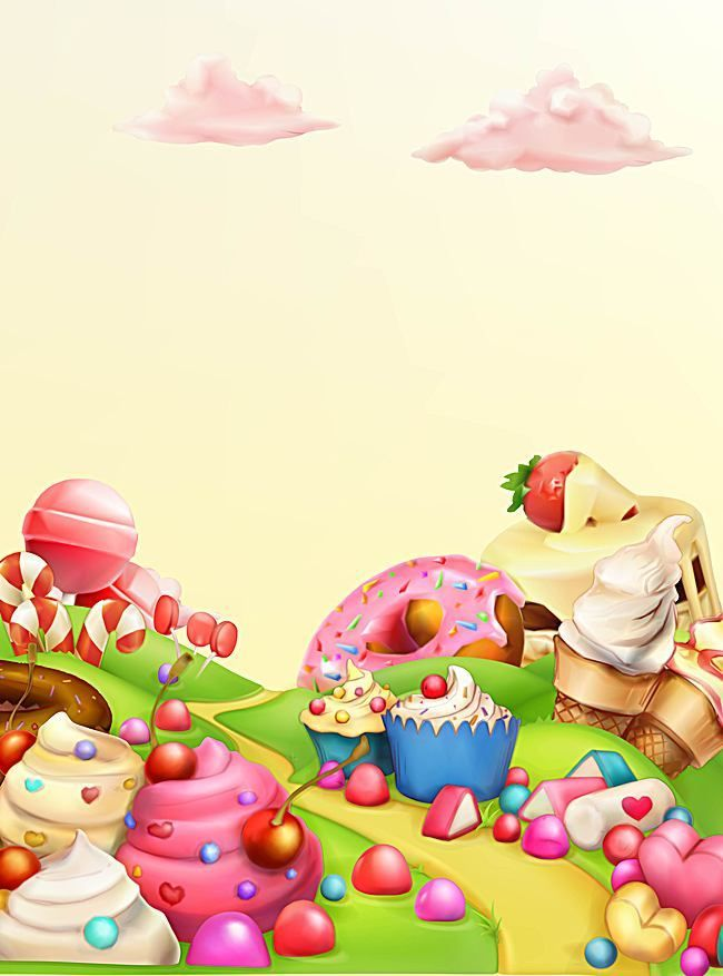Vector Cartoon Candy Dessert Gourmet Paradise Background Childrens Day Candy Drawing Candy Art Candy Background