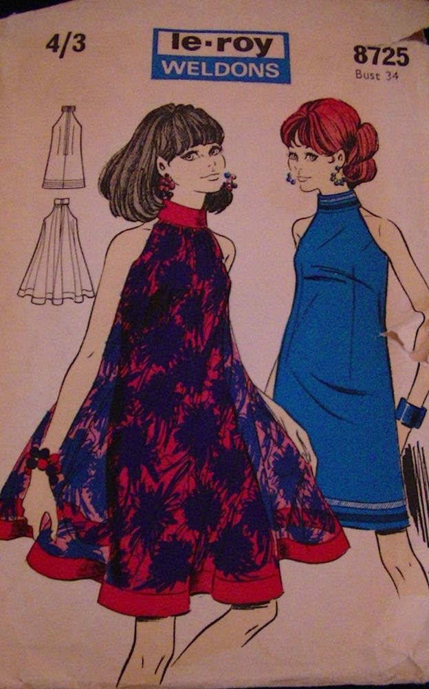 "1960's Le-Roy Weldons Pattern Cut Away Shoulder Party Prom Dresses Bust 34"" in Crafts, Sewing & Fabric, Sewing 