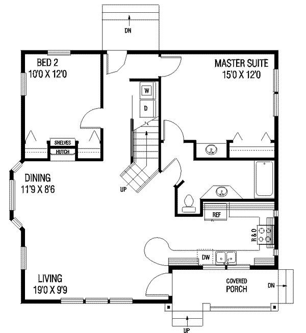 1087 square feet, 2 bedrooms, 1 batrooms, on 1 levels