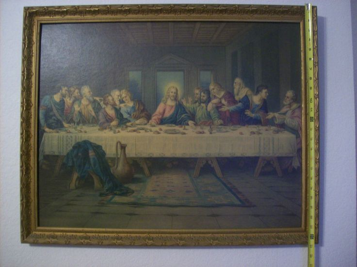Vintage Last Supper Large Wall Art Gold Tone Frame 30
