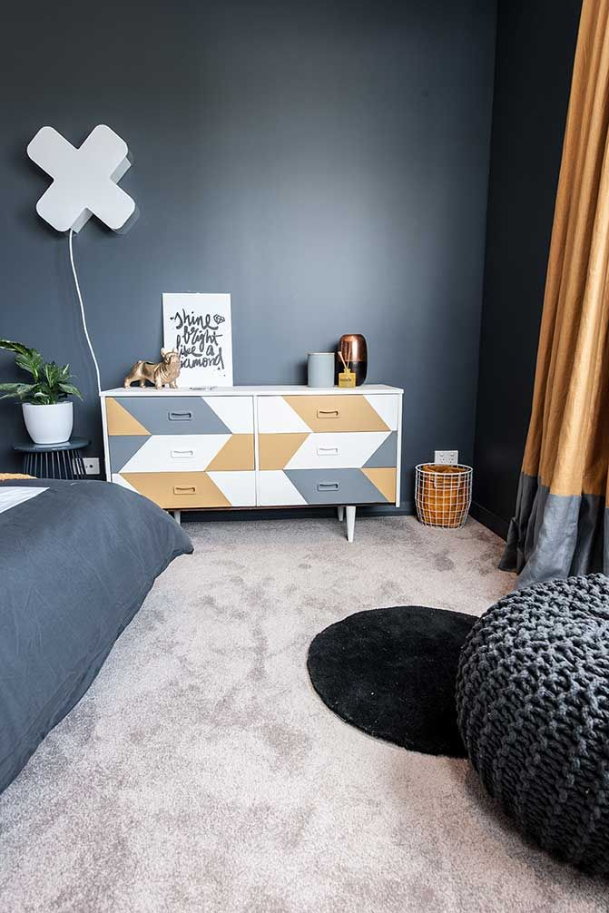Feltex carpets | The Block NZ | Maree and James | Teen Bedroom | Get the look with Feltex Green Scenic Walk in Manuka #triexta #feltex #feltexcarpets #theblock #theblocknz #tv3 #bedroom #teen #bedroom #boysbedroom #greycarpet #carpet #feltexgreen