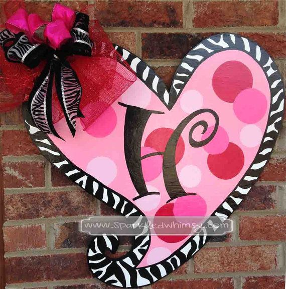 Pink Zebra Print and Polkadot Monogrammed Valentine Door Hanger on Etsy, $42.00
