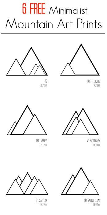 Six FREE printable minimalist mountain art prints. Print these modern designs at home for inexpensive DIY wall art.