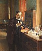 Louis Pasteur, 1885 - Albert Edelfelt  Pasteur's portrait by Edelfelt is the best-known portrait of the French chemist Louis Pasteur. Painted by Albert Edelfelt (1854–1905) in 1885 the painting shows Pasteur in his laboratory at the rue d'Ulm, surrounded by his experimental apparatus, the innovative laboratory glassware used in the experimental methods, developed by him on the field of bacteriology in the late 19th century.