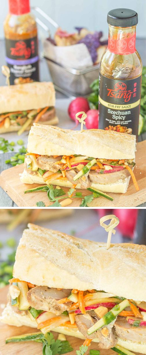 With layers of marinated pork, tangy vegetable coleslaw, and a topping of crunchy peanuts give this recipe for Banh Mi Sandwiches its delicious infusion of flavors. Grab the HOUSE OF TSANG® Szechuan Spicy Sauce and Bangkok Peanut Sauce from at your local Kroger to start making this mouthwatering dinner dish for your family.