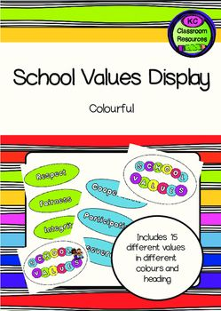 Each school will have core values guiding community life and teaching and learning. They are reflected in all aspects of school life and contribute to a sense of common purpose within the school community. Having a display that you can reference to will help embed these values into your school community.This pack includes 3 different headings and 15 value cards in different…