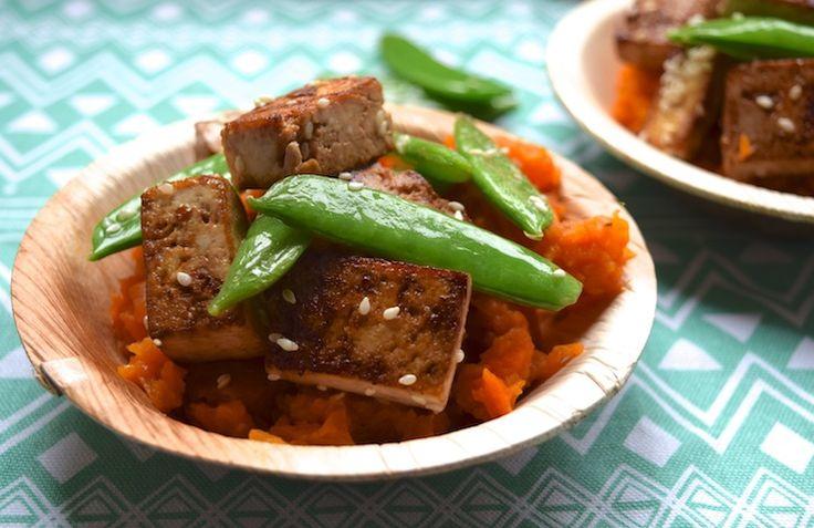 Skinny Six: Aziatische wortelstamp van zoete aardappel en winterpeen met tofu met maar 6 ingrediënten. #skinny #healthy #diner
