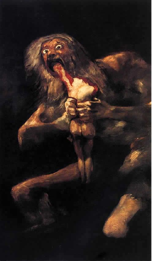 """Saturn devouring his children"" by Goya. this is not actually the name of this piece, it was given this name to excuse the gruesmness of the image which was found painted on the wall of Goyas home"